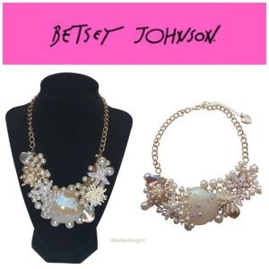 Betsey Johnson Pearl & Shell Surfmaid Necklace
